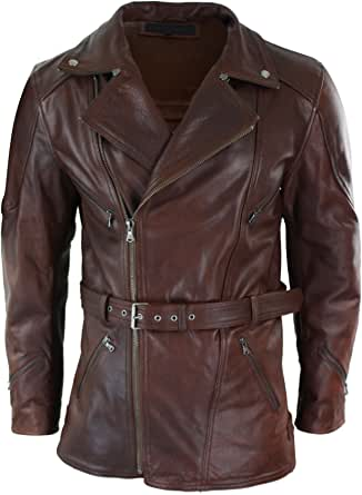 Men Cross Belted Timber Brown 3//4 Motorcycle Biker Long Leather Jacket CE Armour