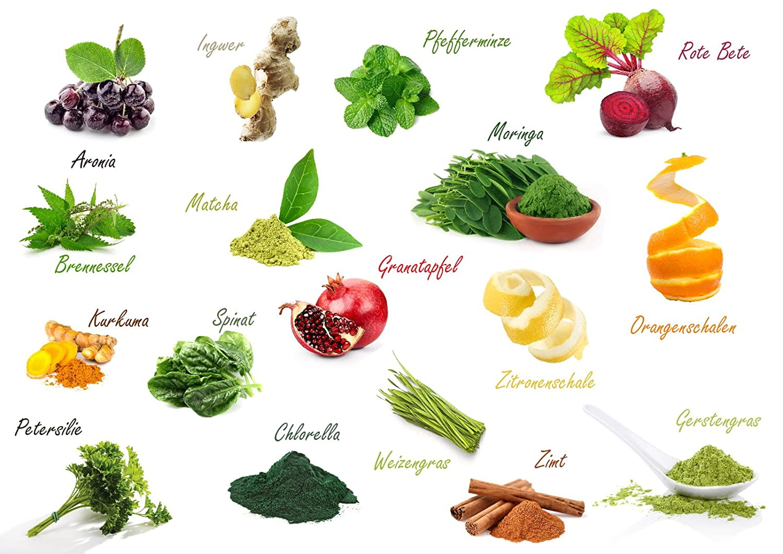 BIO Superfood Mix Vegavero® | 100 g | 17 Superalimentos Orgánicos: Espirulina + Chlorella + Moringa + Matcha + Jengibre + Cúrcuma + Ortiga, etc | SIN ...