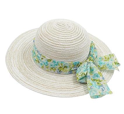 8f8383d7186 Magracy Ladies Summer Hat Women Floppy Straw Sun Hat UPF51+ Wide Brim Beach  Cap with Bowknot