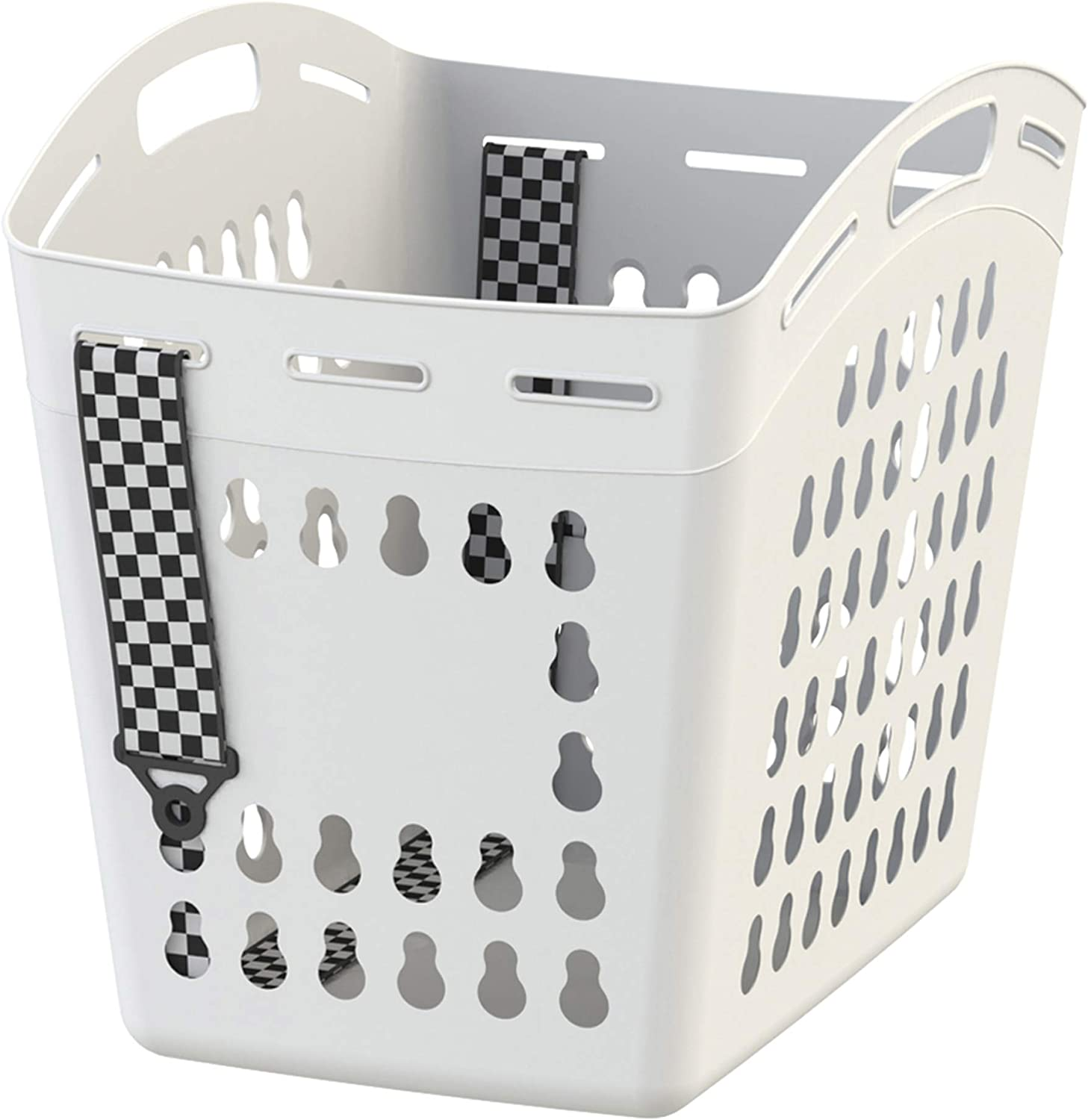 United Solutions Hands Free Laundry Tote With Adjustable and Removable Strap, Easy to Carry, Lightweight, Pack of 3, White