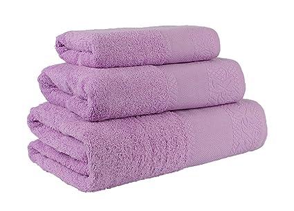 (Malva) Juego de toallas de baño 3 piezas REGALITOSTV (1 toalla de baño