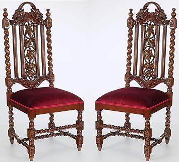 MOREKO 2 Er SET Esszimmerstuhl Mahagoni Massiv Holz Stuhl Gründerzeit  Antik Stil