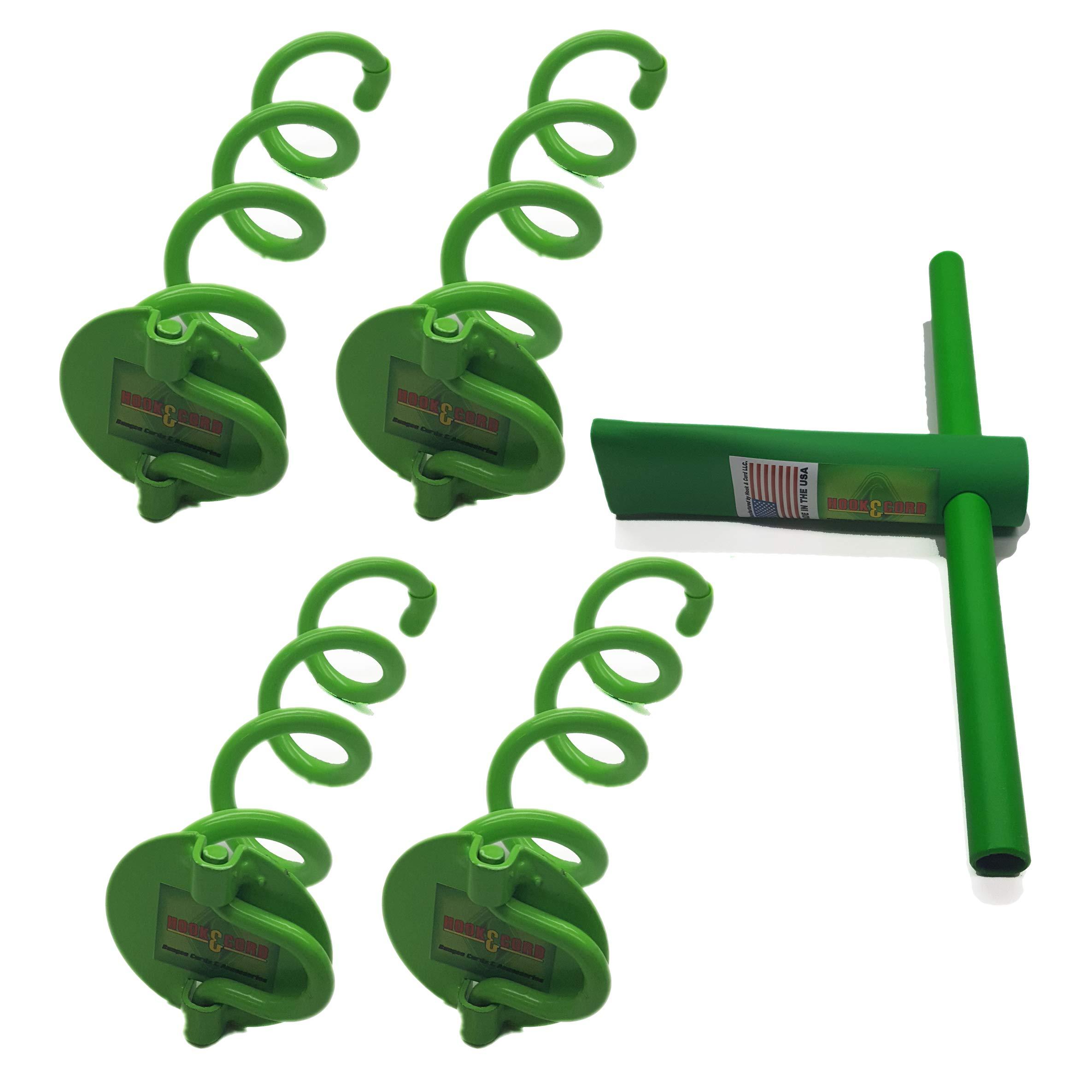 10'' Ground Flush Spiral Anchor - Folding Ring (4 Anchors & Tool)