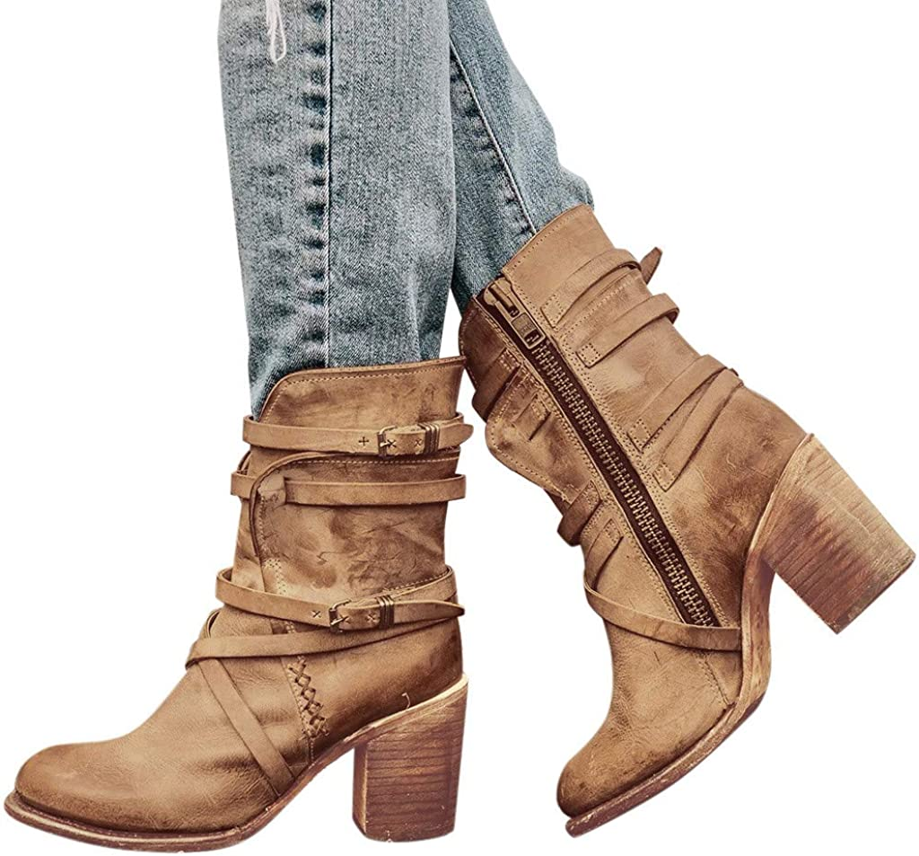 Dainzuy Womens Boots Buckle Biker Strappy Side Zipper Stacked Heel Distressed Shoes Leather Color Block Western Boot