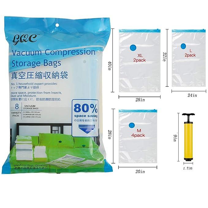 Amazon.com: GQC 8 bolsas de almacenamiento al vacío para ...