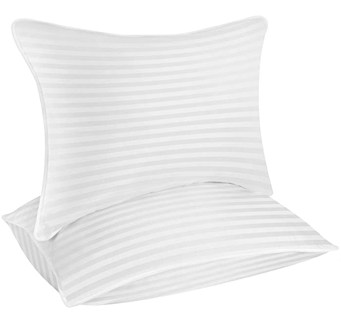Utopia Bedding Premium Fiber Filled Bed Pillows - Standard/Queen Size 20 x 26 Inches - Set of 2 Cotton Pillows for Sleeping - Ideal For Stomach Sleepers - Fluffy and Soft Pillows
