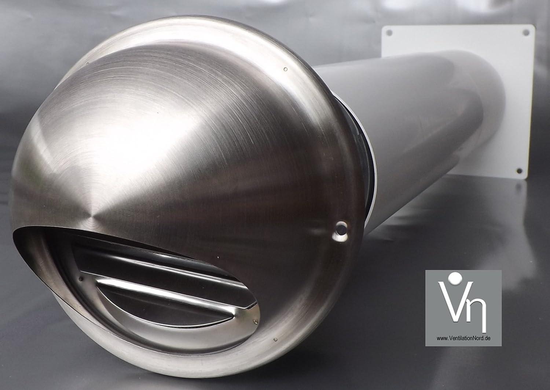 VentilationNord Mauerkasten NW 100 Dunstabzug Teleskop Rohr Rückstauklappe Edelstahl MKWSKE100