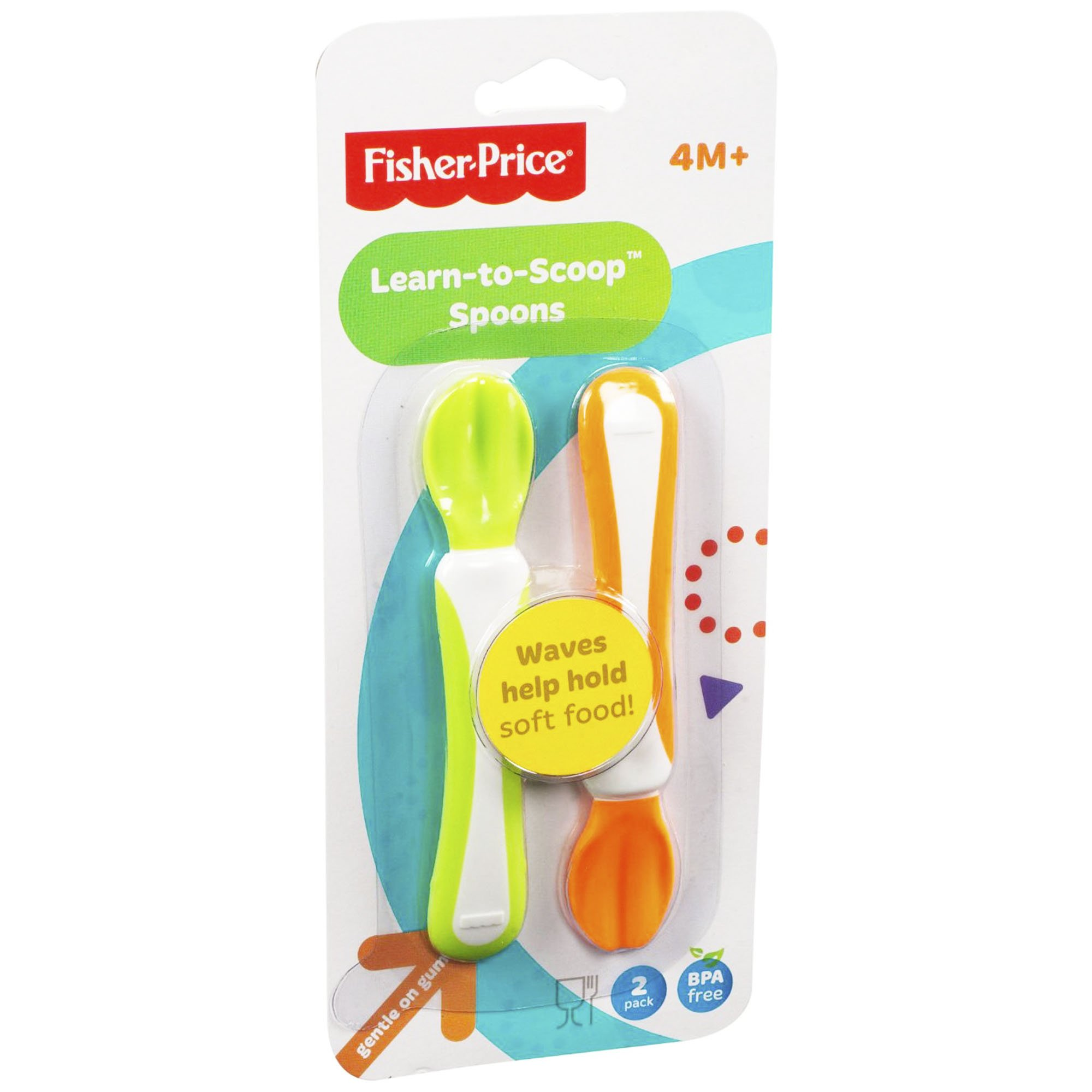 Fisher Price Training Spoons (2 pack) -- Learn to Scoop Spoons (BPA Free)