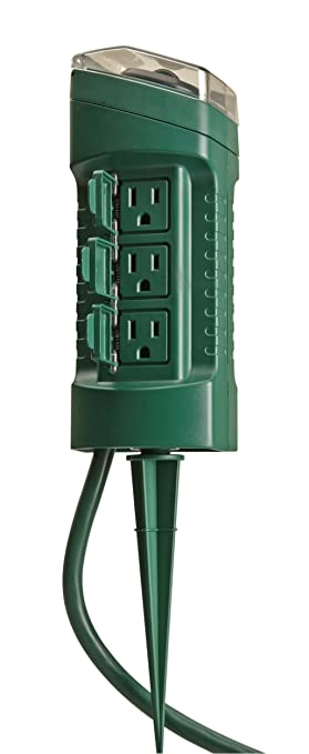 Outdoor Timer With Light Sensor: Woods 13547 6-Outlet Power Stake Timer with Light Sensor & 6-Foot Cord,Lighting