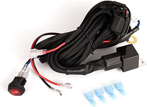 Amazon.com: Wiring Harness for LED Light Bar, Yvoone-Auto 12V 40A Rock  Switch Relay Fuse Nylon Wiring Harness Kit for Fog Lights Heavy Duty Work  Light Bar Offroad LED Pods Wire Kit forAmazon.com