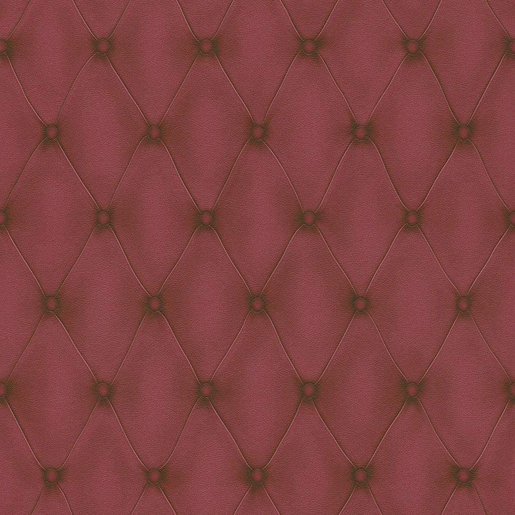 3D Effect Chesterfield Headboard Leather Optic Wallpaper Burgundy Red Paste Wall