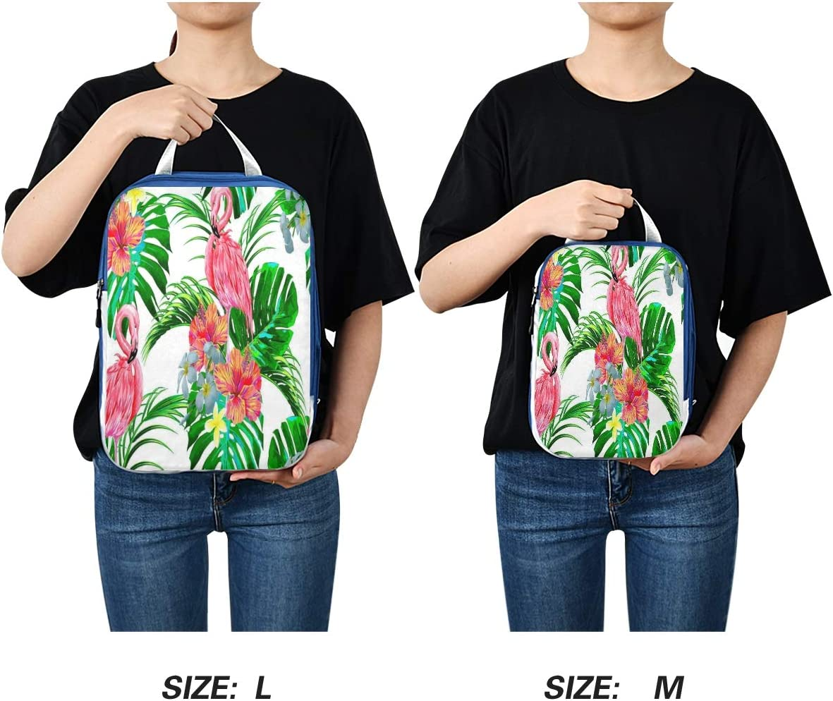Packing Cubes 3 Pack Exotic Flamingo Bird Palm Tree Waterproof Travel Luggage-Organizer Set Packs for Carryon Luggage Suitcase /& Backpack