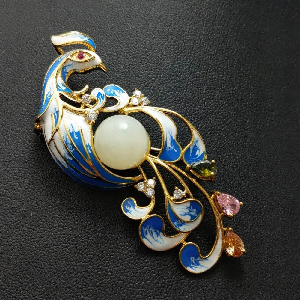 ERDING Broches/Broches de Animales Grandes Piedra Preciosa de Jade Natural en Plata de Ley 925 Colgante y Broche Diseño de Dos Estilos con Oro Amarillo de 18 Quilates