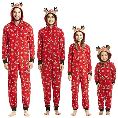 Christmas Pajama Onesies.Uucc Family Matching Christmas Pajamas Set Onesies With Cute Reindeer Graphics Hooded