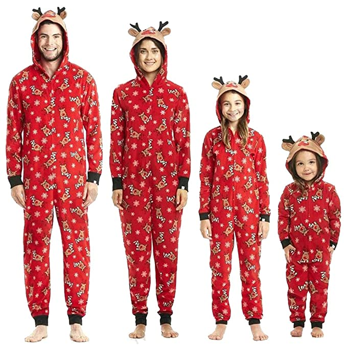 Family Matching Christmas Pajamas Set Onesies with Cute Reindeer Graphics  Hooded Men S 4140a8334