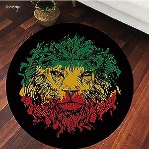 №16933 Round Area Rug Floor Kitchen Carpet, Rasta, Ethiopian Flag Colors On Grunge Sketchy Lion with Black Backdrop, Lime Green, for Home Decor