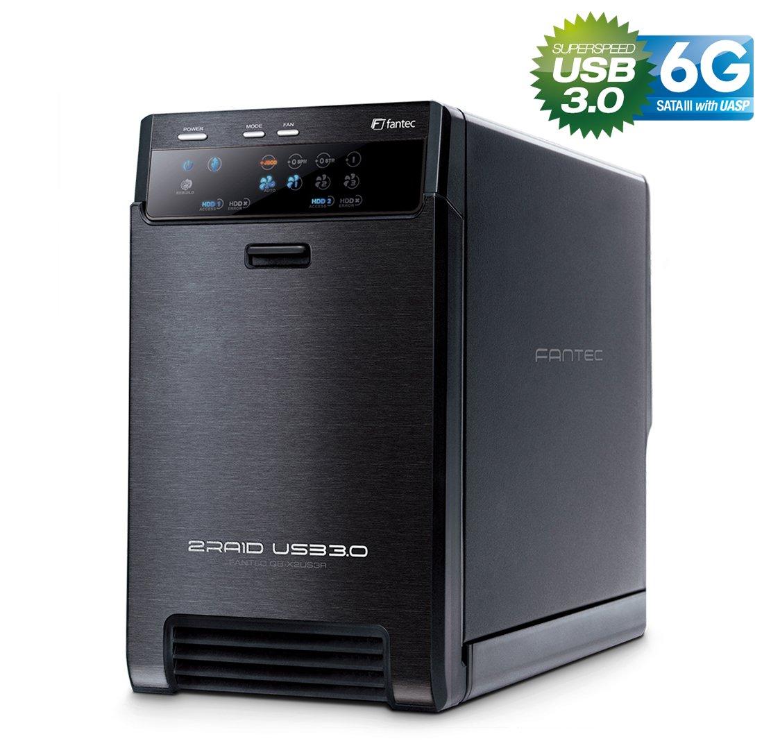 FANTEC QB-X2US3R - carcasa externa para el montaje de 2 discos duros de 8,89 cm (3,5'') SATA I/II/III, USB 3.0, funció n RAID , ventilador de 60mm, negro 5' ' ) SATA I/II/III función RAID 1826.0