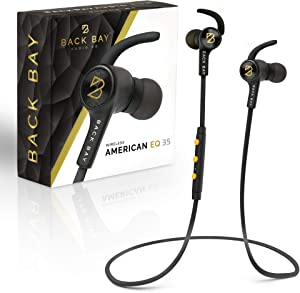 Back Bay - American EQ-35 Bluetooth Earphones. Sweatproof Wireless Earbuds [2019 Update] with APTX Hi-Fi Stereo Sound, 8-Hour Battery, Microphone, Magnet, in-Ear Headhones and Carrying Bag