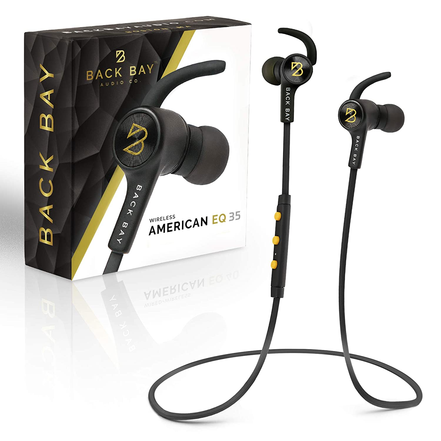 Back Bay – American EQ-35 Bluetooth Earphones. Sweatproof Wireless Earbuds 2019 Update with APTX Hi-Fi Stereo Sound, 8-Hour Battery, Microphone, Magnet, in-Ear Headhones and Carrying Bag