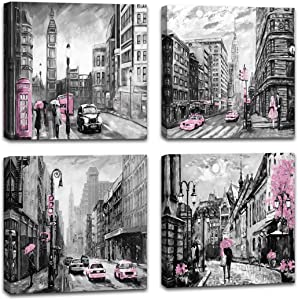 Paris Wall Art Retro Black and White Nostalgic City Street View Pink car and Phone Booth Theme Wall Art for Bedroom Big Ben Oil Painting on Canvas Romantic Picture Artwork Prints for Wall Decor