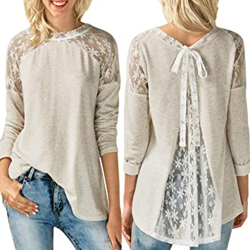Clearance Youngh New Womens Blouses Womens O Neck Tops Lace Long