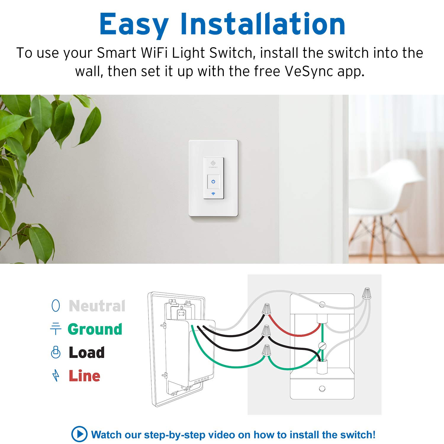 Etekcity Smart WiFi Light Switch, Wireless Remote Control from Anywhere, Schedule Your Home, No Hub Required, Works with Alexa and Google Home, Single Pole Only, White, 15A/1800W, ETL Listed by Etekcity (Image #7)