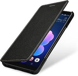 StilGut Housse pour HTC U12+ Book Type en Cuir véritable à Ouverture latérale, Noir