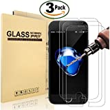 """[3 Pack] iPhone 8 Plus, 7 Plus Screen Protector, MaxTeck 0.26mm Tempered Shatterproof Glass Screen Protector Anti-Shatter Film for iPhone 8 Plus, 7 Plus 5.5""""inch [3D Touch Compatible]"""