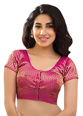 c08a3f6c9557eb Amazon.com: Silk Katori Style Pink Floral Print Party-wear Saree Blouse Sari  Choli - KT-3: Clothing