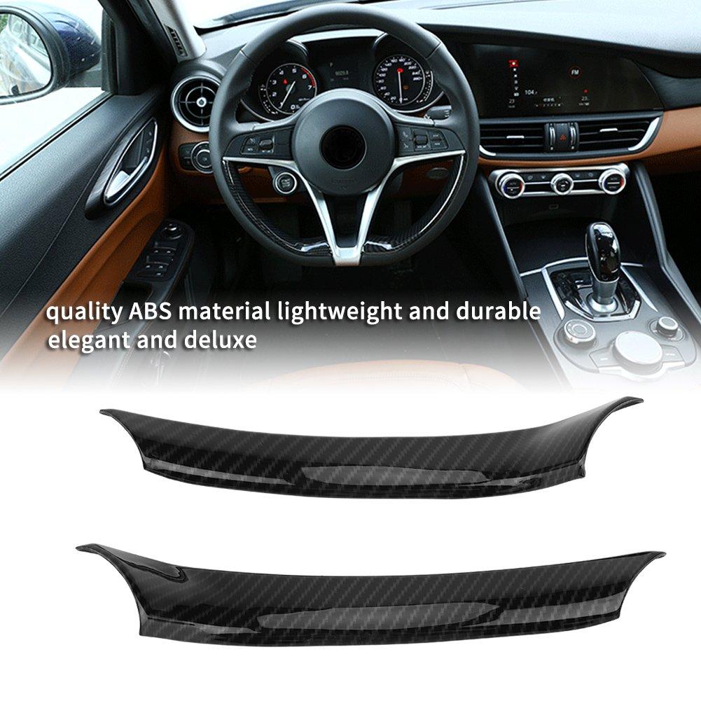 2 pegatinas decorativas para volante de coche color negro de fibra de carbono