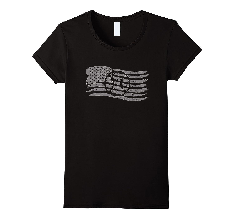 American Flag T-Shirt For Baseball Softball Player Patriotic