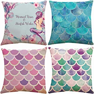 Set of 4 Mermaid Scales Decorative Throw Pillow Covers 18 x 18 Inch Double Side Design, ZUEXT Blue & Red Cotton Linen Cushion Case for Car Sofa Ocean Theme Brithday Party Bedroom Decor Kids Girls Gift