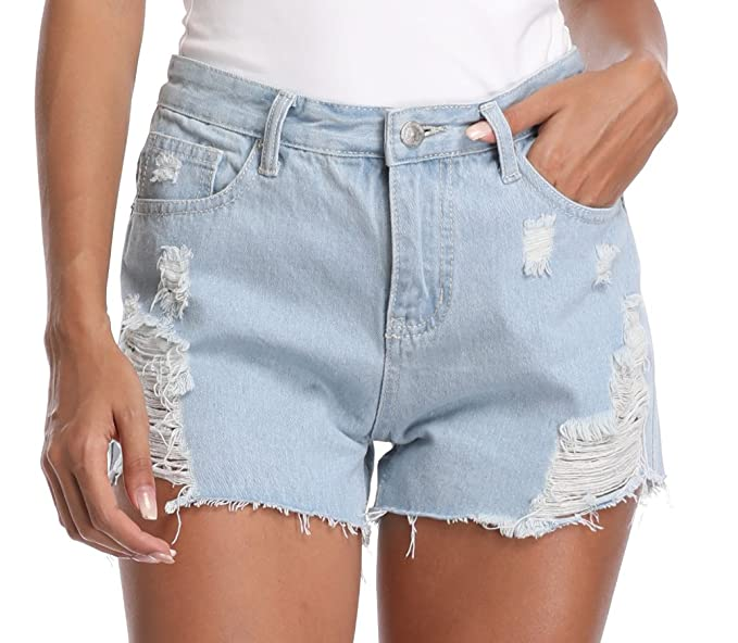 3fc42c721a MISS MOLY Womens Frayed Ripped Zip-Fly Denim Shorts Jeans Light Blue Denim  Jeans Pants