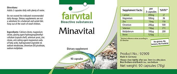 Minavital - VEGANO - Altamente dosificado - 90 cápsulas ...