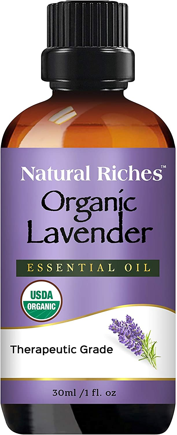 Organic Lavender Essential Oil with Premium Therapeutic Quality Pure USDA Certified - for Diffuser, Aromatherapy, Sleep, Headache, Meditation, Anxiety, Candles & Massage - 1 fl. oz. Natural Riches
