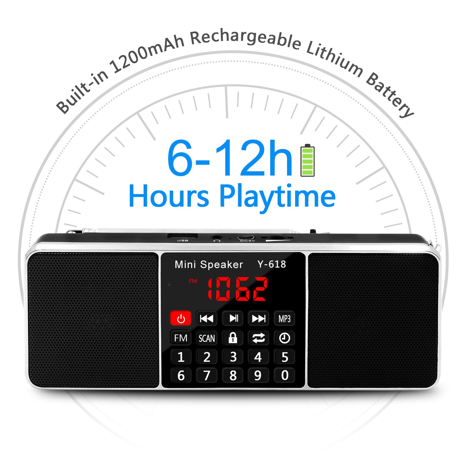 LEFON Multifunction Digital FM Radio Media Speaker MP3 Music Player Support TF Card USB Drive with LED Screen Display and Setting Timing Shutdown ...