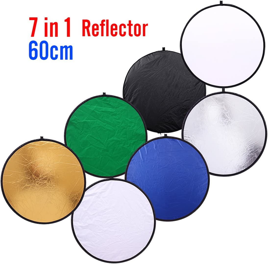 80cm 32 inch Round Collapsible Light Reflectors for Photography 7 in 1 Portable Sun Reflector for Studio Multi Photo Disc White,Blue,Green,Gold,Silver,and Black
