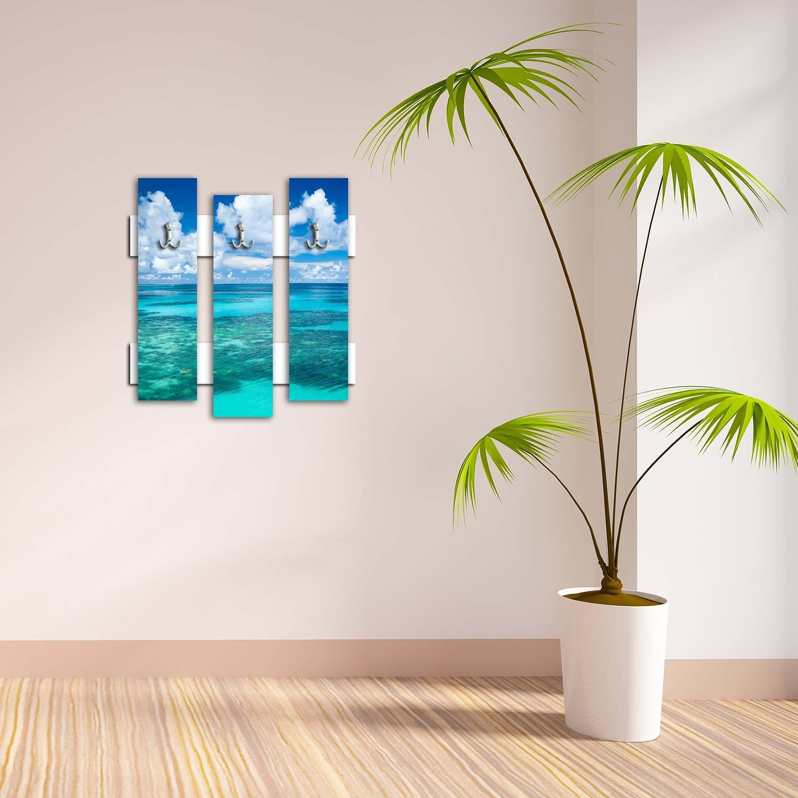 Decorative Wall Hook 3 Pcs Metal Key Holder 100% MDF Mounted Hanging Home Decor, Perfect for Foyers Entryway, Door Coats Hats Towels Scarfs Bags Sea Seaside Sky Cloud Holiday Sun Beach Water