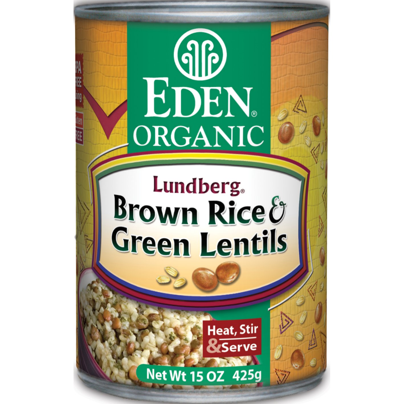 Eden Organic Brown Rice & Green Lentils, 15-Ounce Cans (Pack of 12)
