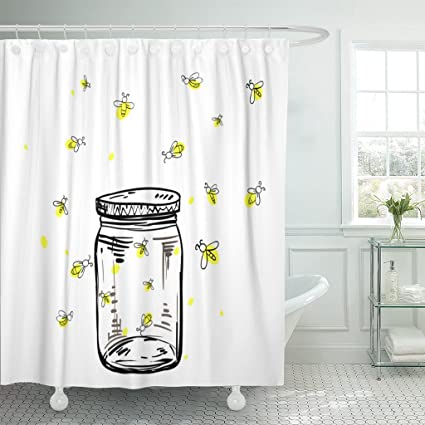 Emvency Fabric Shower Curtain Curtains With Hooks Firefly Fireflies Flying Around The Jar In Hand Drawing