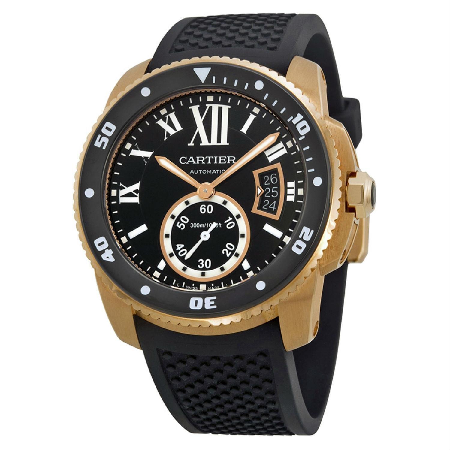 Cartier Calibre de Cartier Diver Automatic Black Dial Rubber Mens Watch W7100052