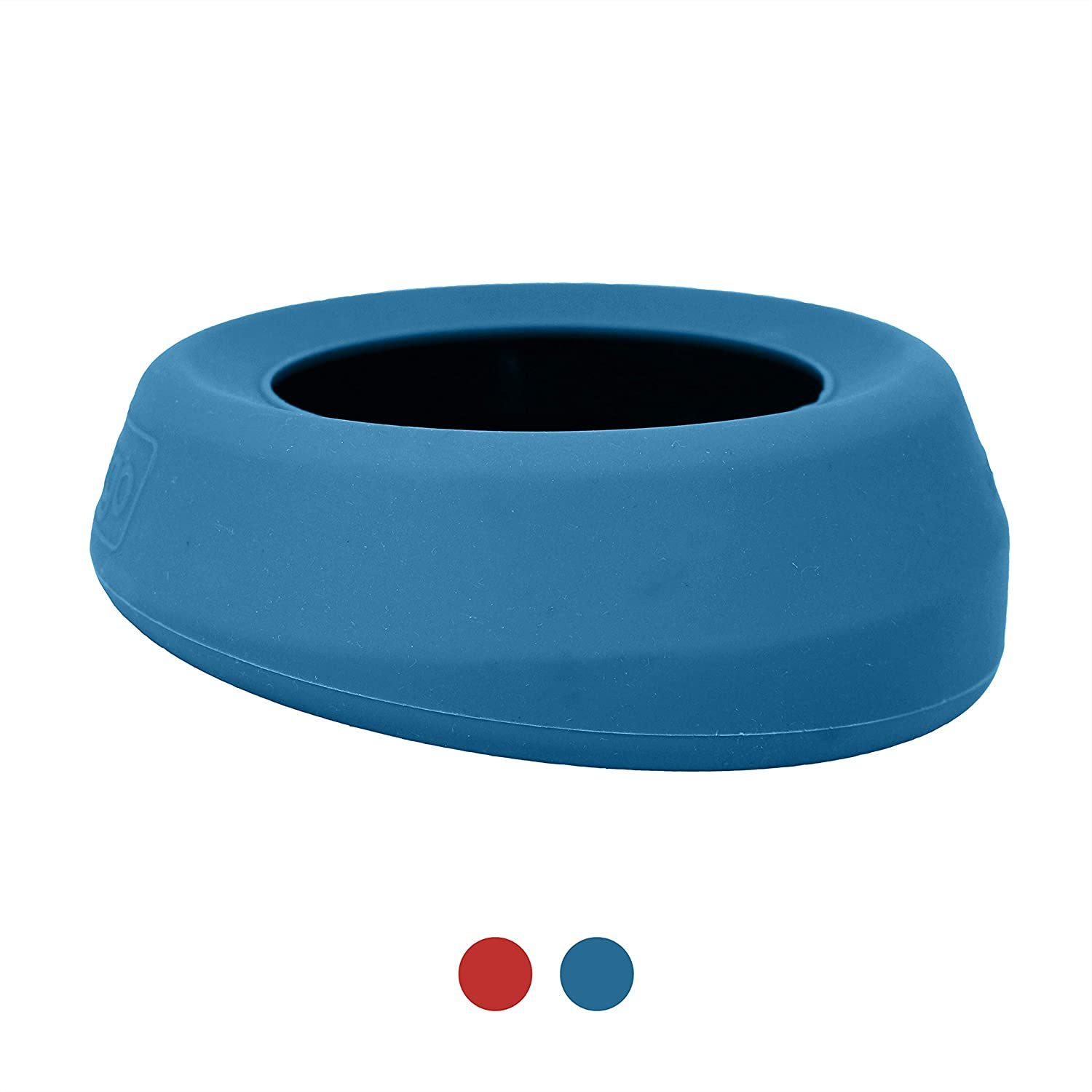 Kurgo No Spill Dog Travel Bowl | Portable No-Mess Water Bowl for Dogs | Splash Less Pet Bowl for Car Travel | Dog Travel Accessories | Splash Free Wander Water Bowl | Blue & Red | 24 oz