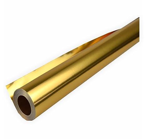 Creleo 792170 Alufolie gold/gold doppelseitig kaschiert 50 cm x10 Meter Bastelfolie zweiseitig verwendbar gold / gold