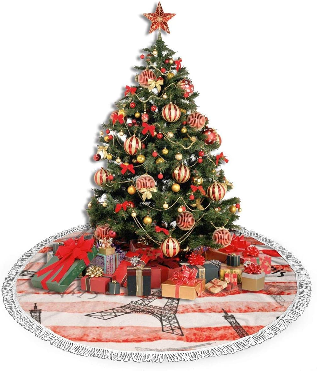 ZJBLHEQ Tassel Christmas Tree Skirts Vintage Paris Eiffel Tower Red Line 36 inches Xmas Tree Skirt Mat for Christmas Thanksgiving Holiday Home Party Decorations Ornaments