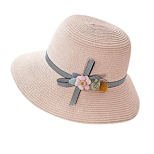 439f58451 Botrong Straw Hats for Women Wide Brimmed Floppy Foldable Flower ...