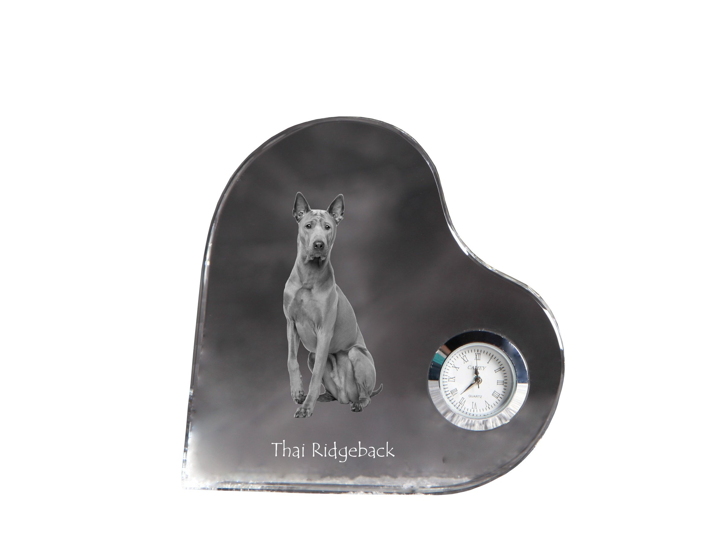 Thai Ridgeback, heart shaped crystal clock with an image of a dog