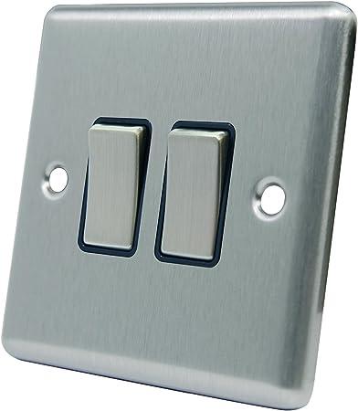 Double chrome brossé interrupteur 2 gang 2 way