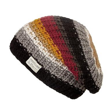7f3a57b377e77d Kusan 100% Wool Multi-Coloured Striped Floppy Beanie (PK1715):  Amazon.co.uk: Clothing