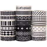 Savena Washi Tape Set for DIY Gift Wrapping Scrapbooking and Craft, Sticky Adhesive Paper Masking Tape with Lovely Printed Patterns and Long-Lasting Colors (19 Rolls, Monochrome, 0.6in x 32.8ft)