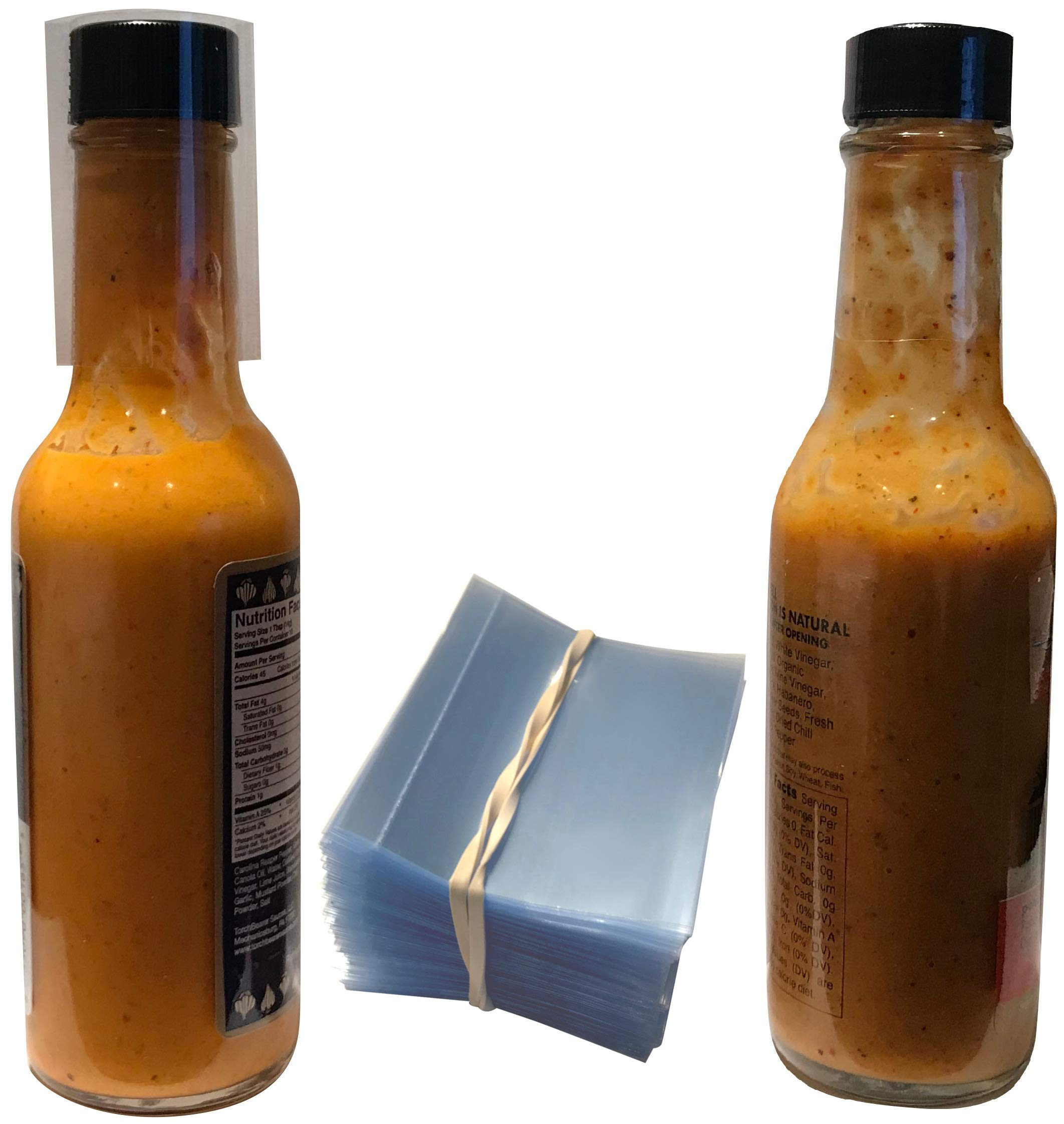 "Clear Perforated Shrink Bands for Hot Sauce Bottles and Woozy Bottles [3/4-1"" Diameter] (250 Pack)"